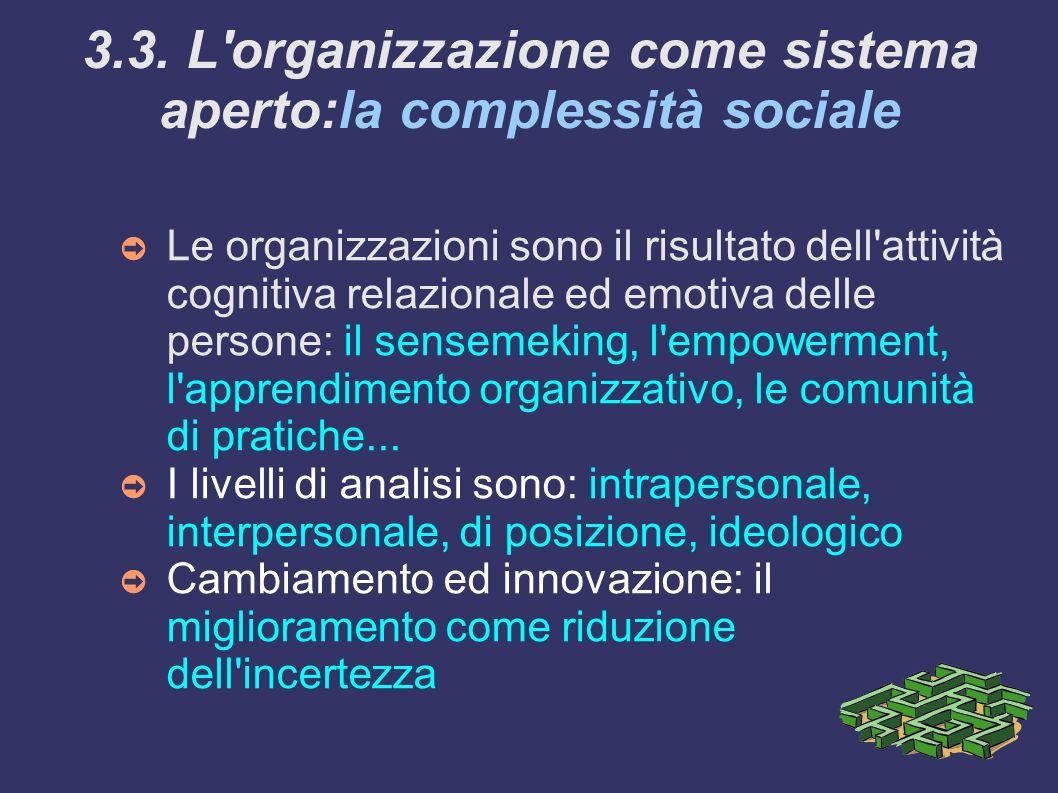 3.3. L'organizzazione come sistema aperto:la complessità sociale Le organizzazioni sono il risultato dell'attività cognitiva relazionale ed emotiva de