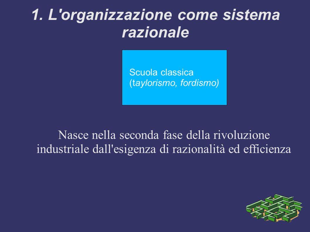 1. L'organizzazione come sistema razionale Scuola classica (taylorismo, fordismo) Nasce nella seconda fase della rivoluzione industriale dall'esigenza