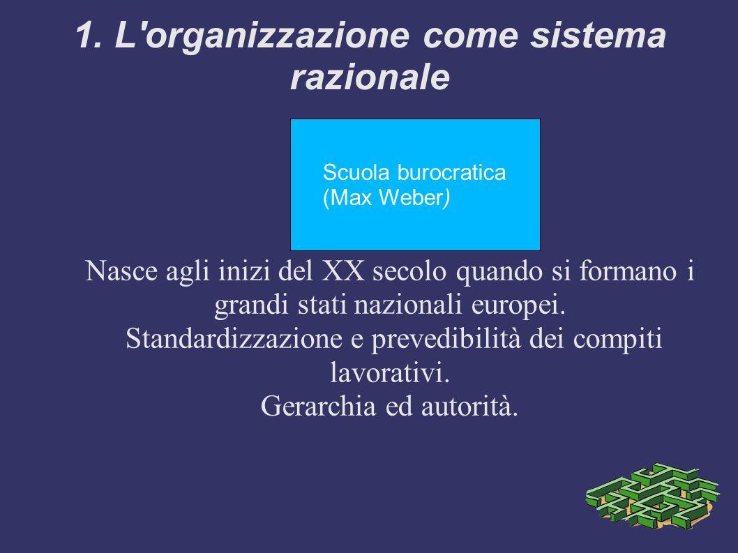 1. L'organizzazione come sistema razionale Scuola burocratica (Max Weber) Nasce agli inizi del XX secolo quando si formano i grandi stati nazionali eu