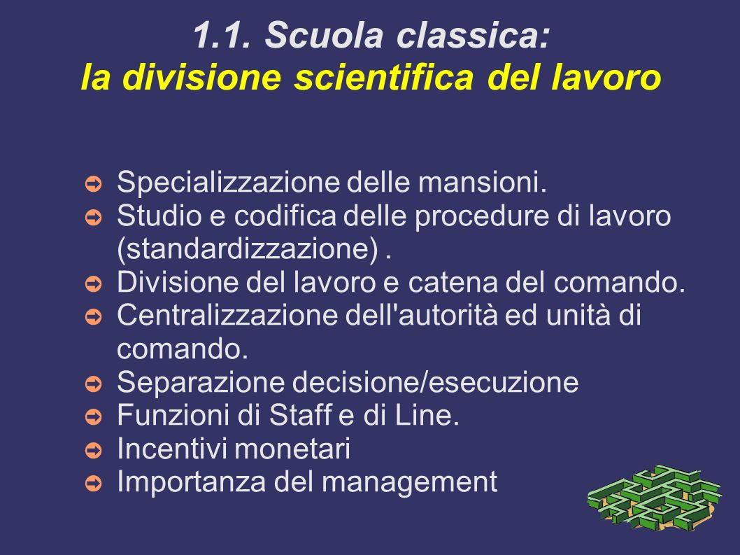 1.1. Scuola classica: la divisione scientifica del lavoro Specializzazione delle mansioni. Studio e codifica delle procedure di lavoro (standardizzazi