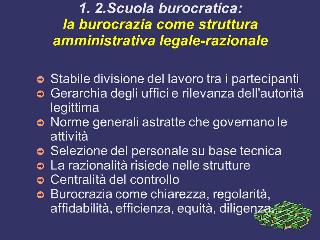 1. 2.Scuola burocratica: la burocrazia come struttura amministrativa legale-razionale Stabile divisione del lavoro tra i partecipanti Gerarchia degli