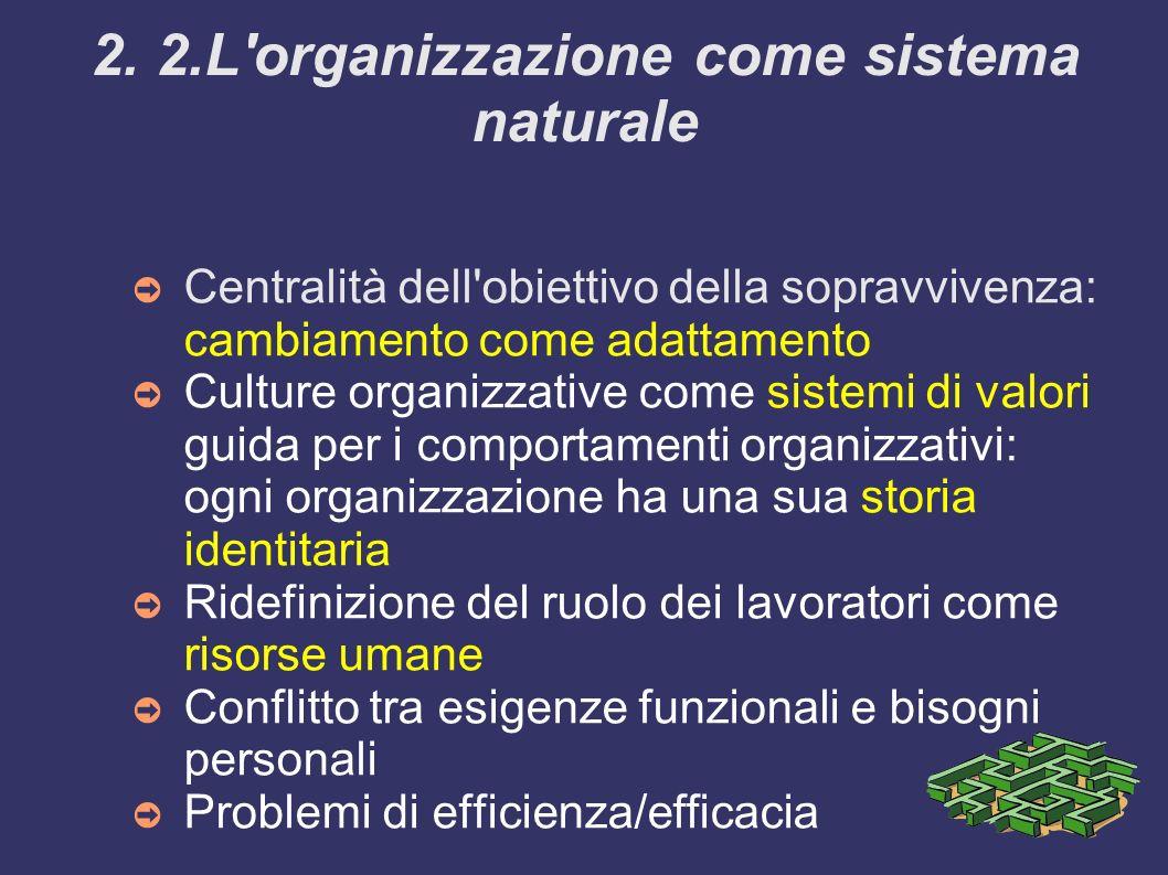 2. 2.L'organizzazione come sistema naturale Centralità dell'obiettivo della sopravvivenza: cambiamento come adattamento Culture organizzative come sis