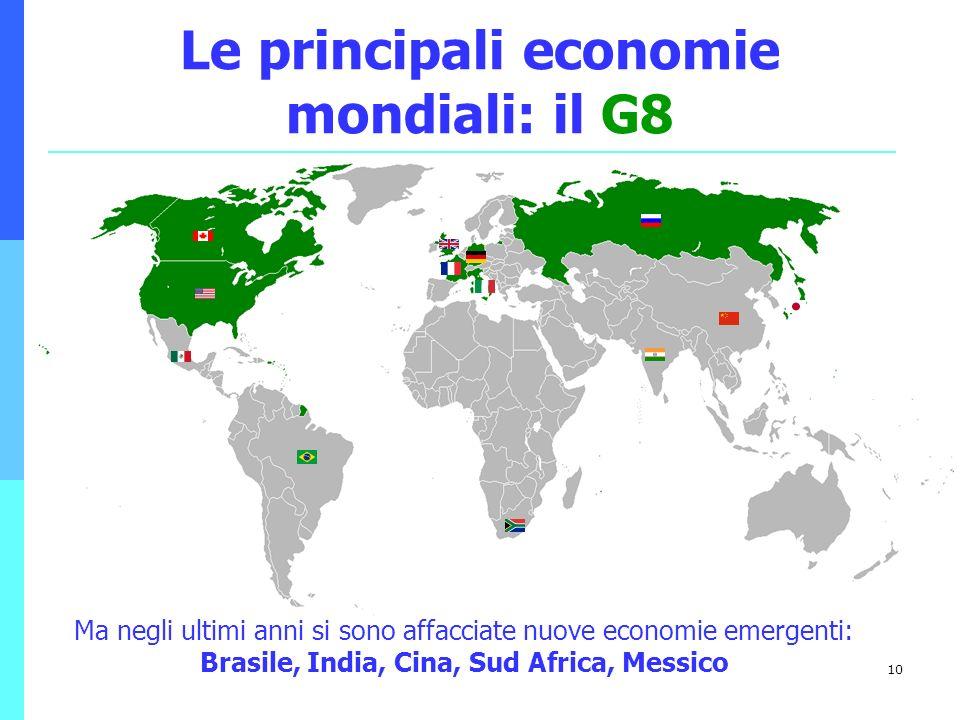 10 Le principali economie mondiali: il G8 Ma negli ultimi anni si sono affacciate nuove economie emergenti: Brasile, India, Cina, Sud Africa, Messico