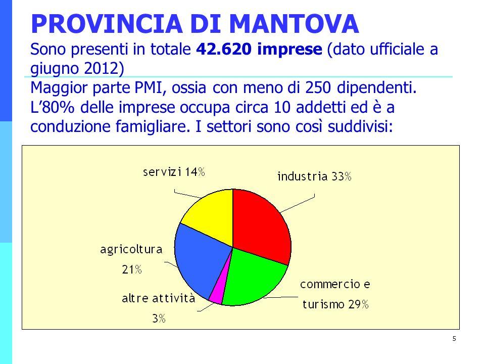 5 PROVINCIA DI MANTOVA Sono presenti in totale 42.620 imprese (dato ufficiale a giugno 2012) Maggior parte PMI, ossia con meno di 250 dipendenti. L80%