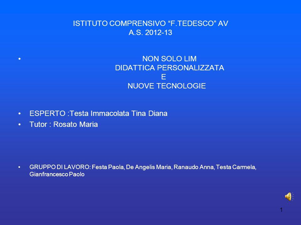 ISTITUTO COMPRENSIVO F.TEDESCO AV A.S. 2012-13 NON SOLO LIM DIDATTICA PERSONALIZZATA E NUOVE TECNOLOGIE ESPERTO :Testa Immacolata Tina Diana Tutor : R