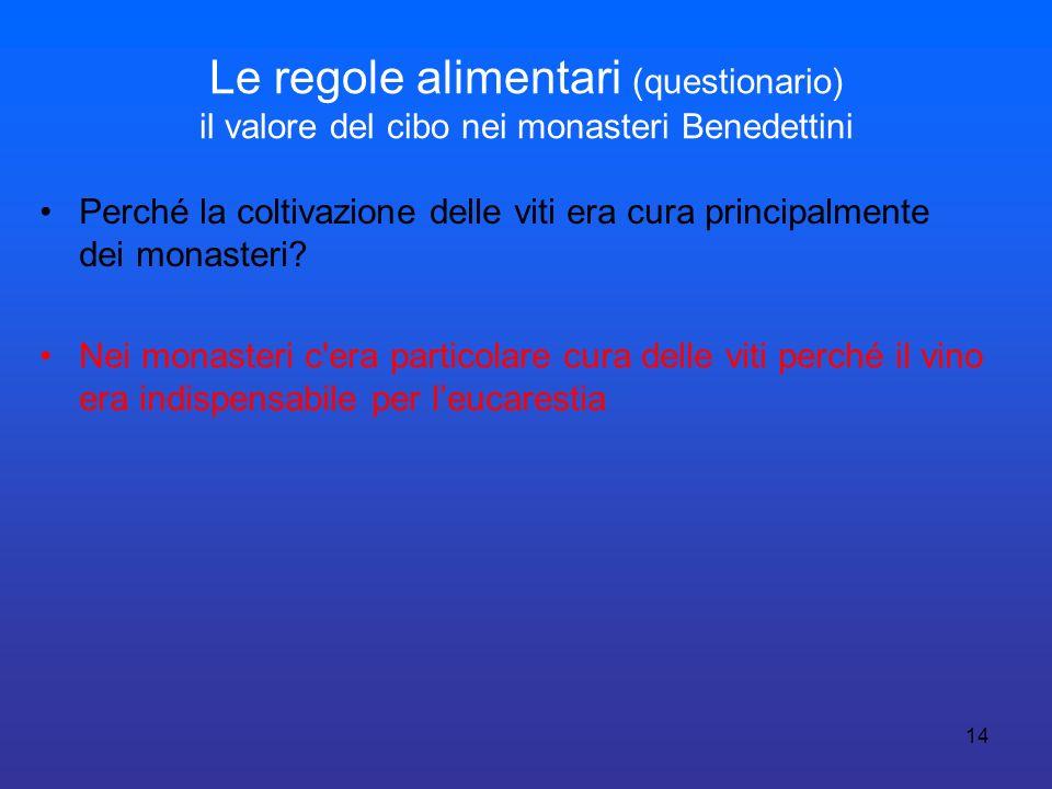 14 Le regole alimentari (questionario) il valore del cibo nei monasteri Benedettini Perché la coltivazione delle viti era cura principalmente dei mona