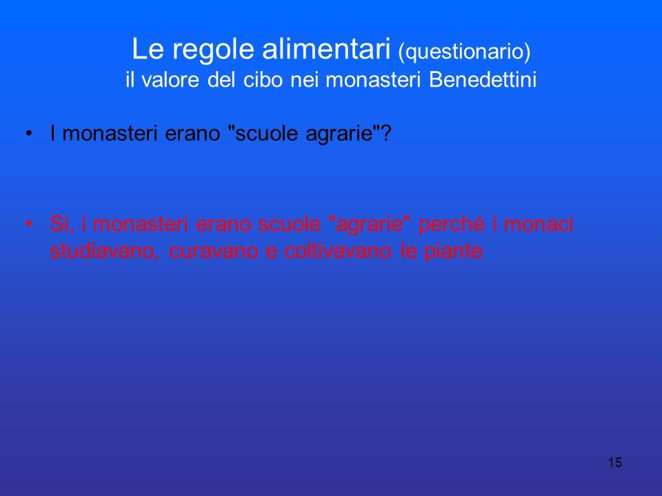 15 Le regole alimentari (questionario) il valore del cibo nei monasteri Benedettini I monasteri erano