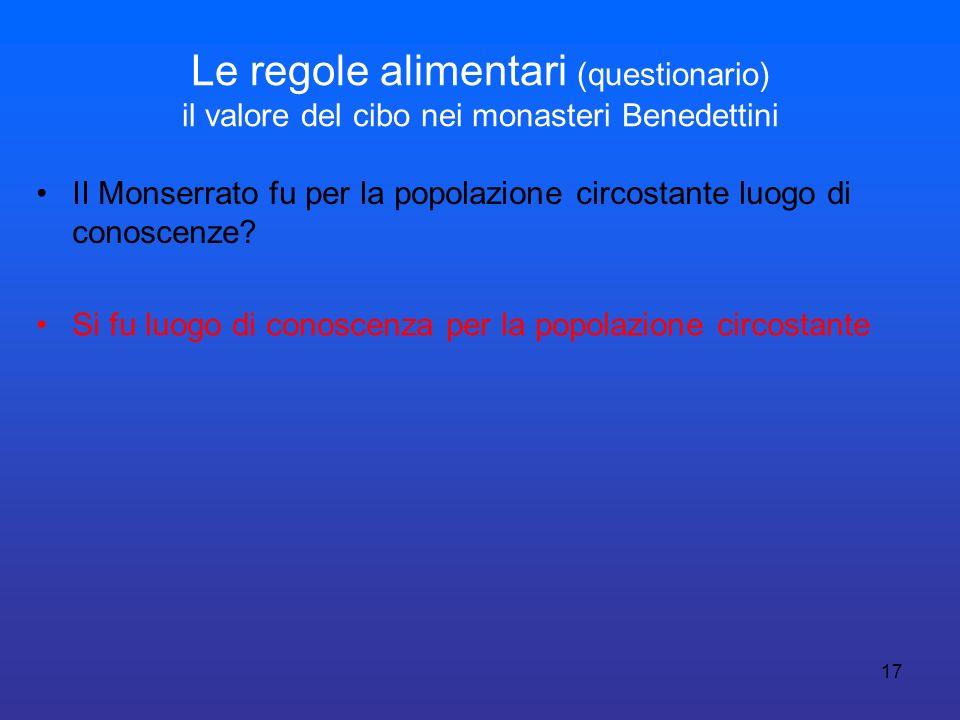 17 Le regole alimentari (questionario) il valore del cibo nei monasteri Benedettini II Monserrato fu per la popolazione circostante luogo di conoscenz