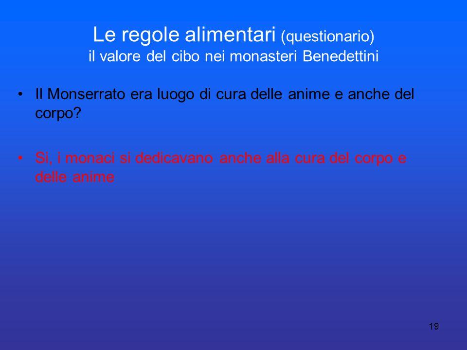 19 Le regole alimentari (questionario) il valore del cibo nei monasteri Benedettini Il Monserrato era luogo di cura delle anime e anche del corpo? Si,