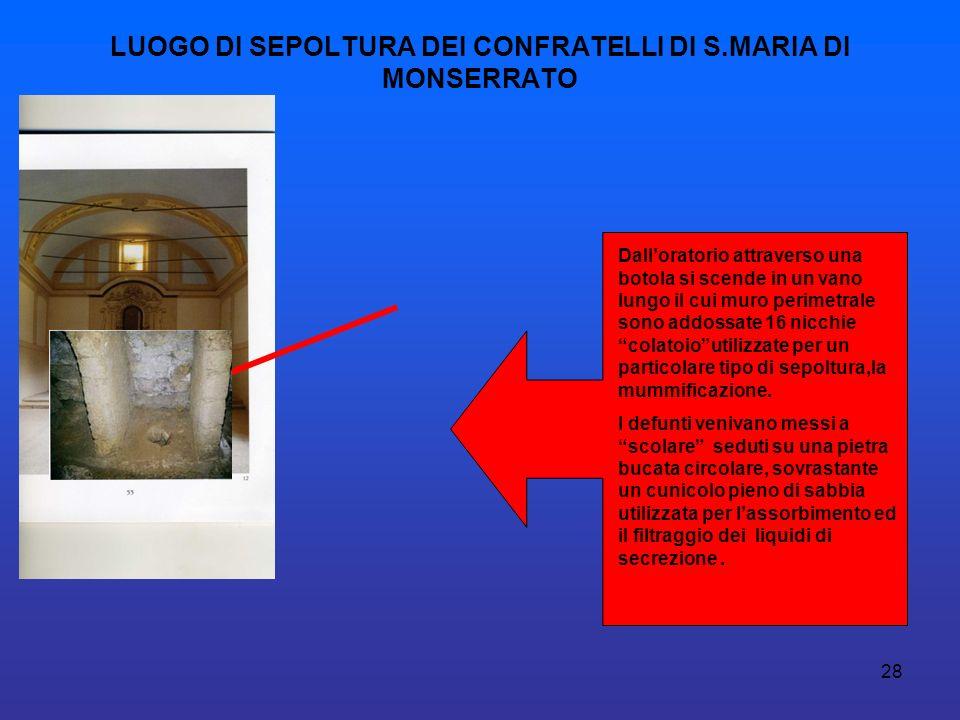 28 LUOGO DI SEPOLTURA DEI CONFRATELLI DI S.MARIA DI MONSERRATO Dalloratorio attraverso una botola si scende in un vano lungo il cui muro perimetrale s