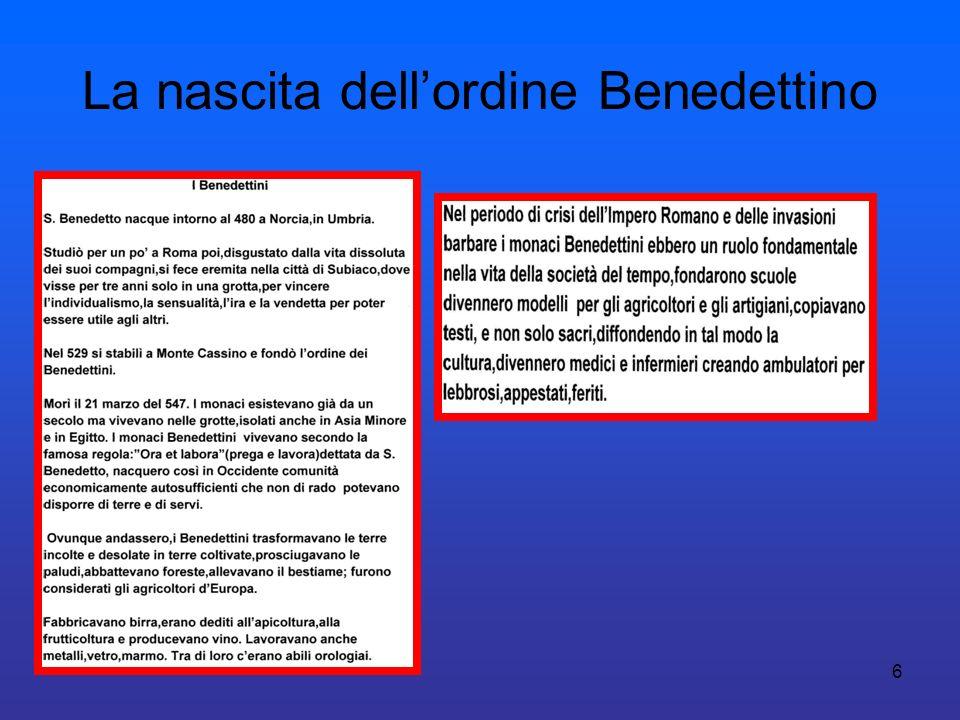 6 La nascita dellordine Benedettino