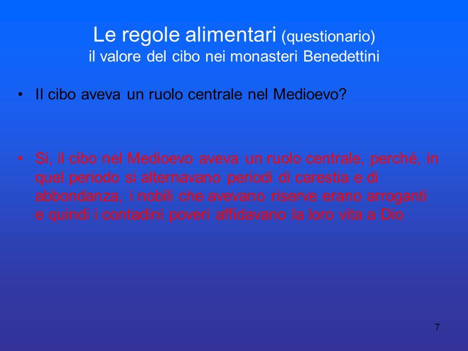 7 Le regole alimentari (questionario) il valore del cibo nei monasteri Benedettini II cibo aveva un ruolo centrale nel Medioevo? Si, il cibo nel Medio