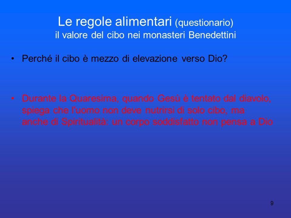10 Le regole alimentari (questionario) il valore del cibo nei monasteri Benedettini Perché la carne è un alimento bandito dalla mensa.