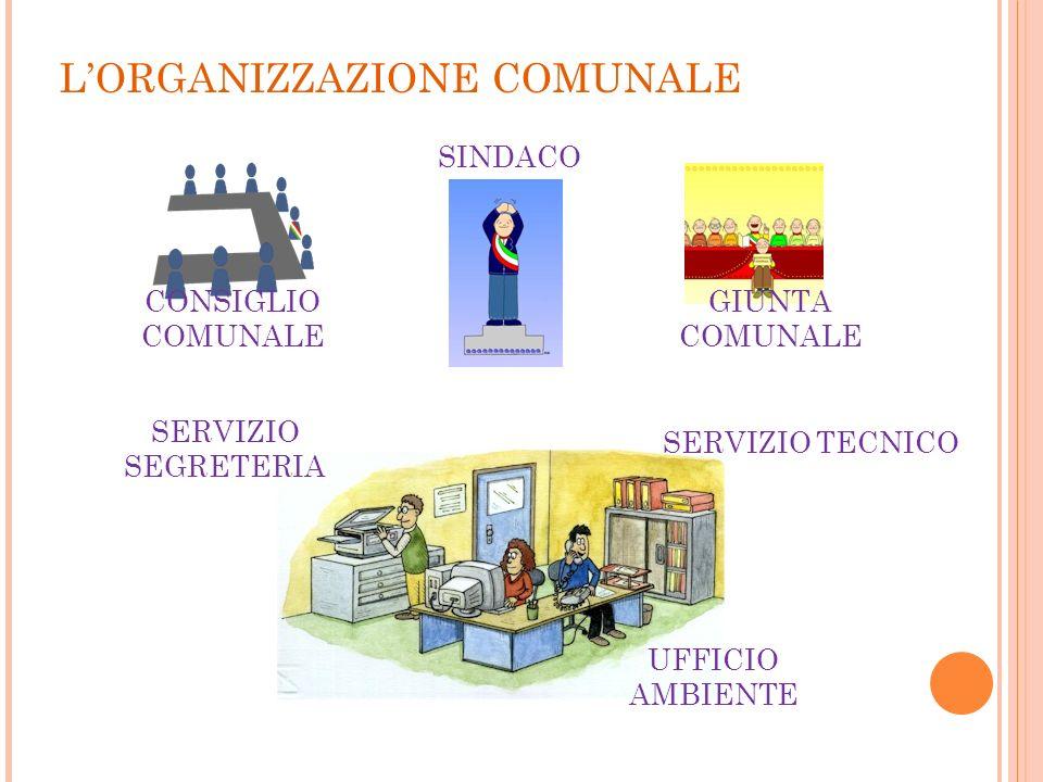 LORGANIZZAZIONE COMUNALE CONSIGLIO COMUNALE SINDACO GIUNTA COMUNALE SERVIZIO TECNICO SERVIZIO SEGRETERIA UFFICIO AMBIENTE