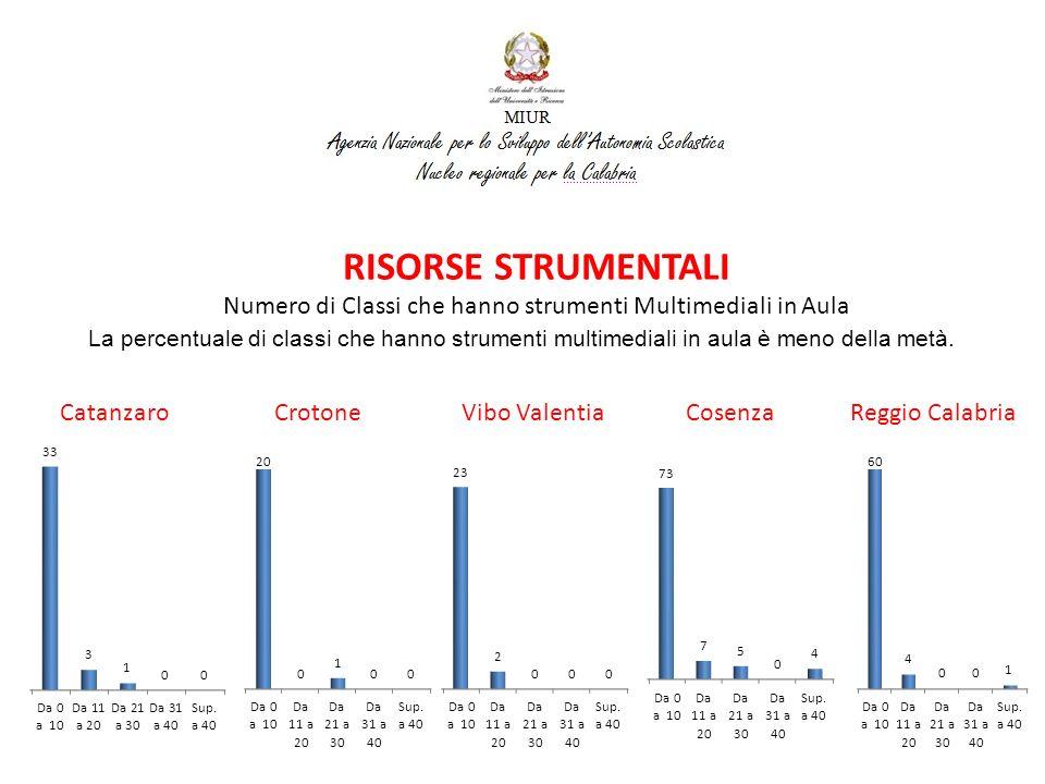 RISORSE STRUMENTALI Presenza Reti Wireless Catanzaro Crotone Vibo Valentia Cosenza Reggio Calabria La presenza di reti wireless risulta pari ad una percentuale minore della metà.
