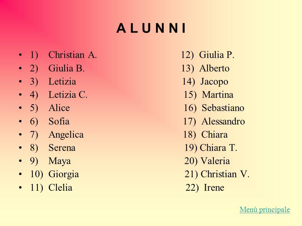 A L U N N I 1) Christian A.12) Giulia P. 2) Giulia B.