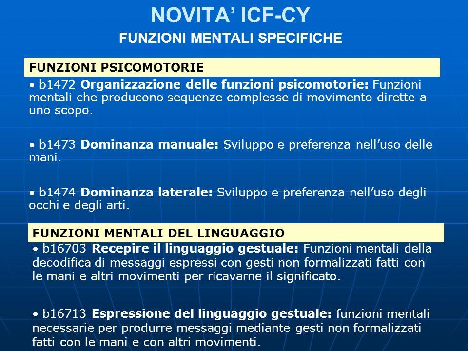 NOVITA ICF-CY FUNZIONI MENTALI SPECIFICHE FUNZIONI PSICOMOTORIE b1472 Organizzazione delle funzioni psicomotorie: Funzioni mentali che producono seque