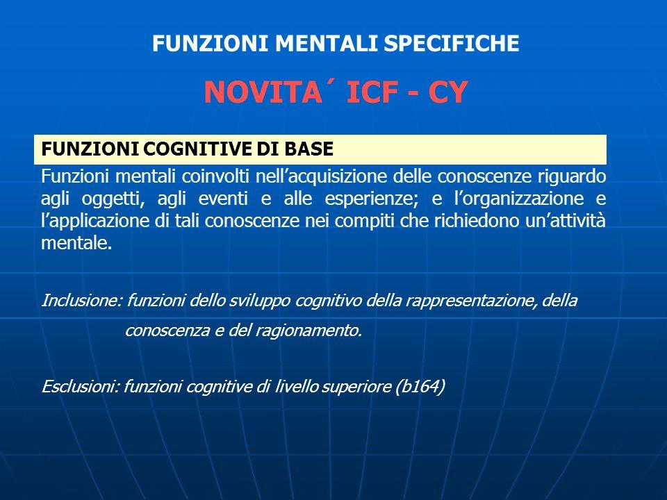 FUNZIONI COGNITIVE DI BASE FUNZIONI MENTALI SPECIFICHE NOVITA´ ICF - CY Funzioni mentali coinvolti nellacquisizione delle conoscenze riguardo agli ogg