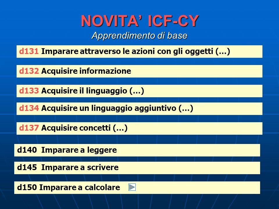 NOVITA ICF-CY Apprendimento di base d131 Imparare attraverso le azioni con gli oggetti (…) d132 Acquisire informazione d133 Acquisire il linguaggio (…