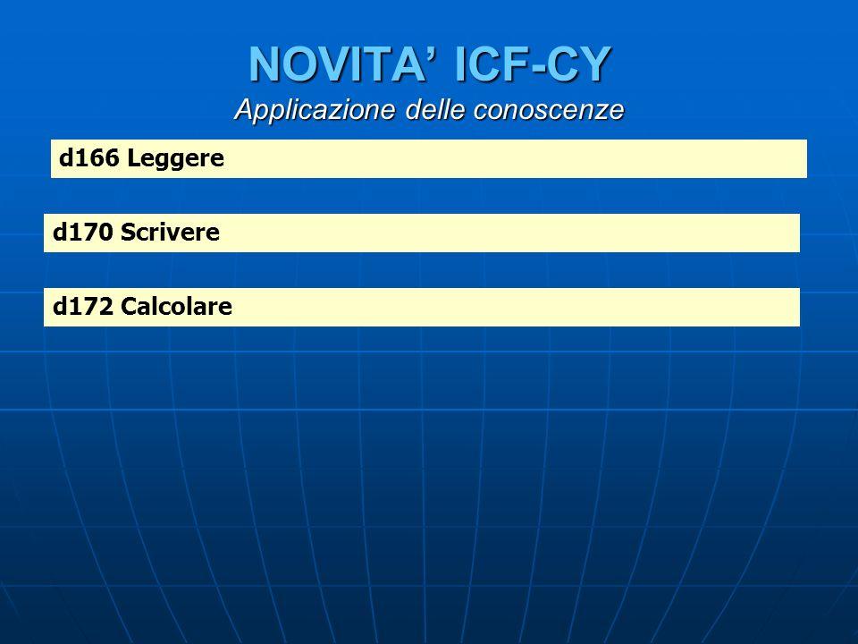 NOVITA ICF-CY Applicazione delle conoscenze d166 Leggere d170 Scrivere d172 Calcolare