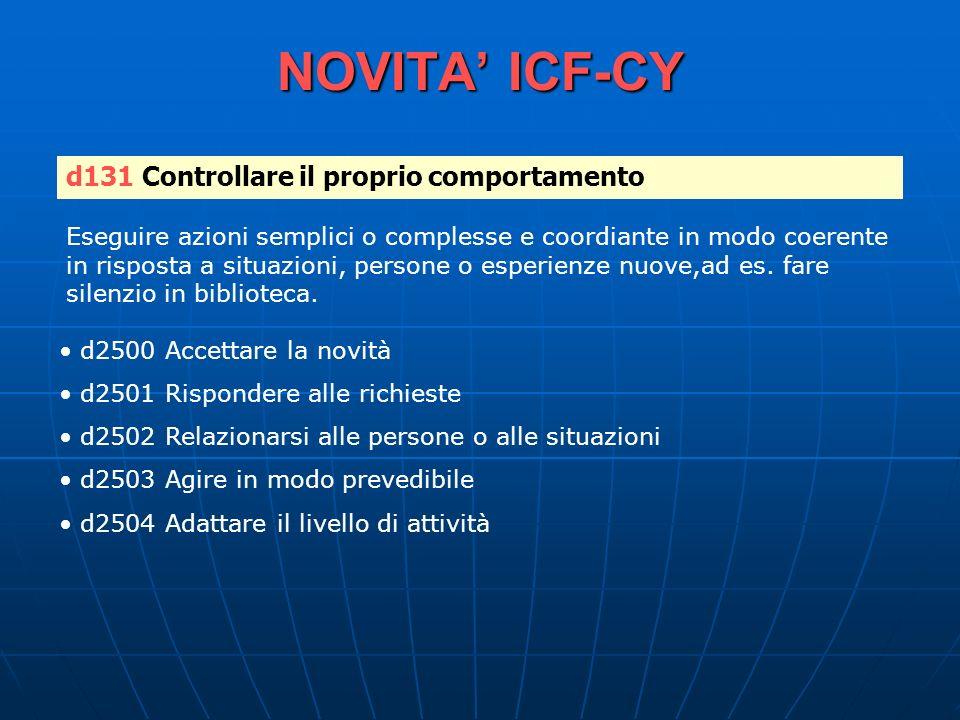 NOVITA ICF-CY d131 Controllare il proprio comportamento Eseguire azioni semplici o complesse e coordiante in modo coerente in risposta a situazioni, p