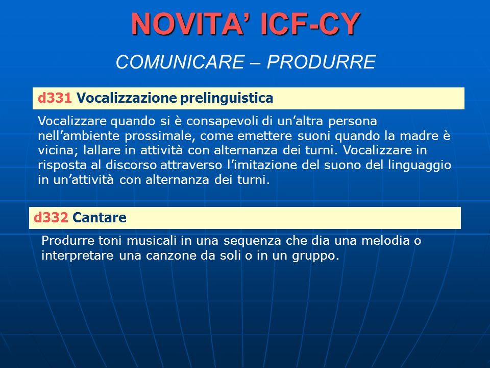 NOVITA ICF-CY NOVITA ICF-CY COMUNICARE – PRODURRE d331 Vocalizzazione prelinguistica Vocalizzare quando si è consapevoli di unaltra persona nellambien