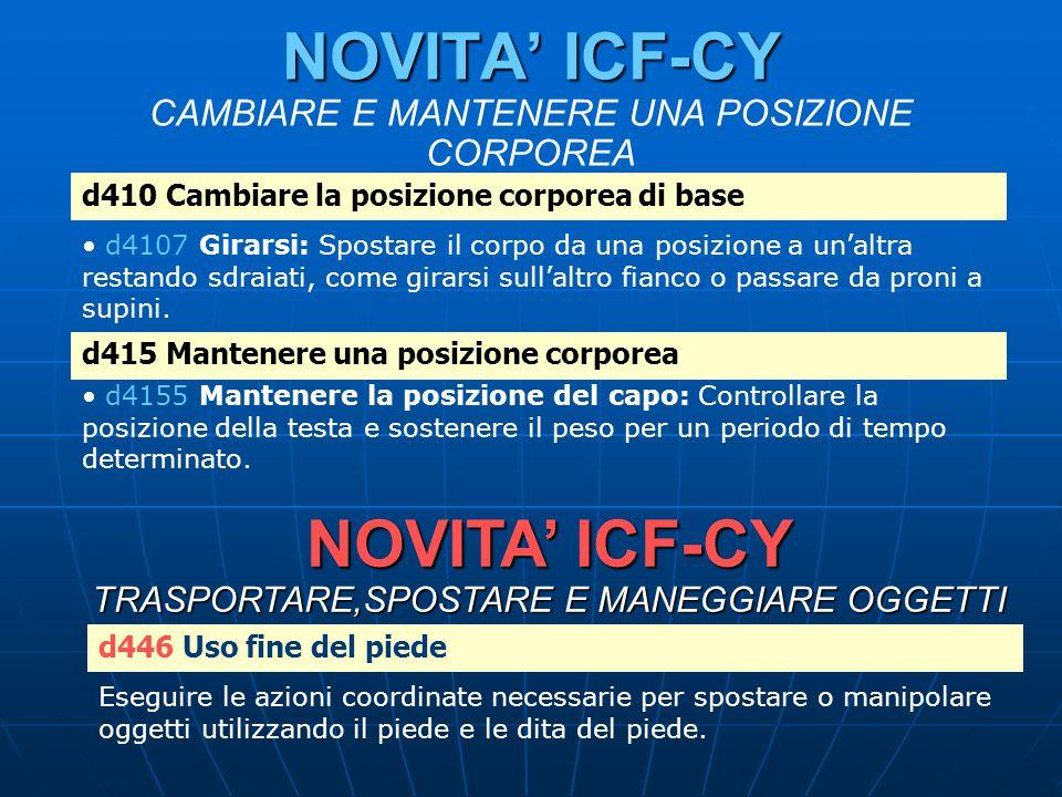 NOVITA ICF-CY NOVITA ICF-CY CAMBIARE E MANTENERE UNA POSIZIONE CORPOREA d410 Cambiare la posizione corporea di base d4107 Girarsi: Spostare il corpo d