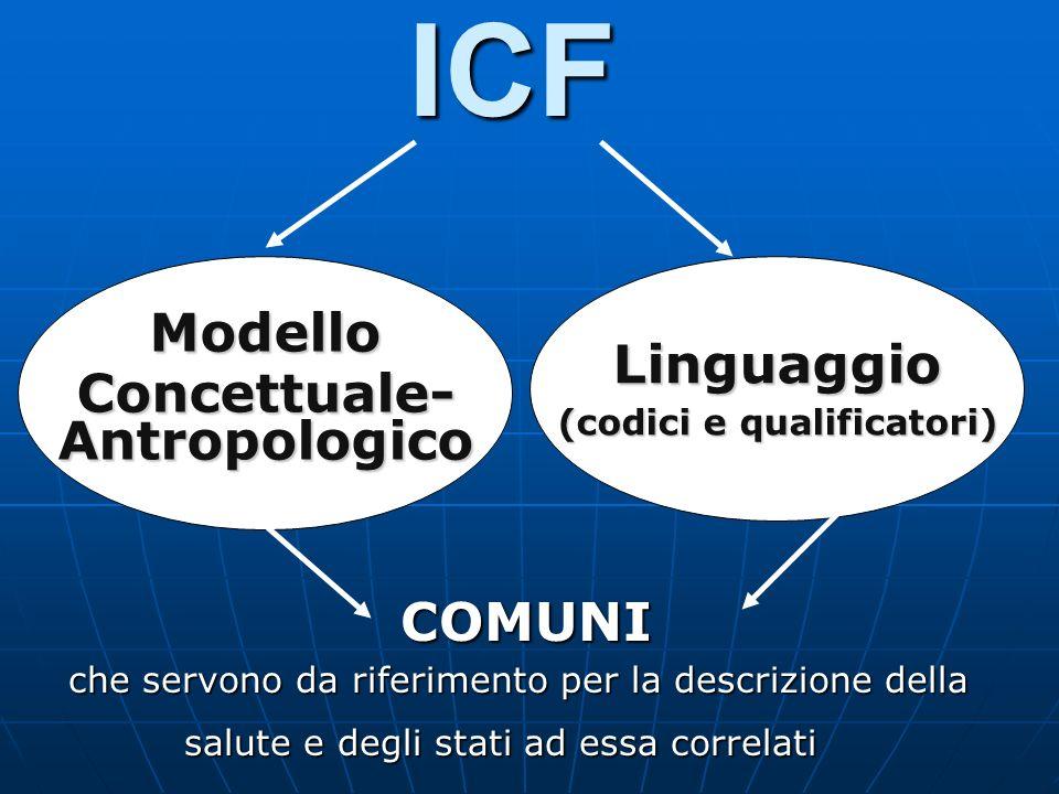 CONDIZIONI FISICHE (disturbo o malattia) PARTECIPAZIONE SOCIALE FUNZIONI CORPOREE FATTORI PERSONALI FATTORI AMBIENTALI ATTIVITÀ PERSONALI FATTORI CONTESTUALI STRUTTURE CORPOREE