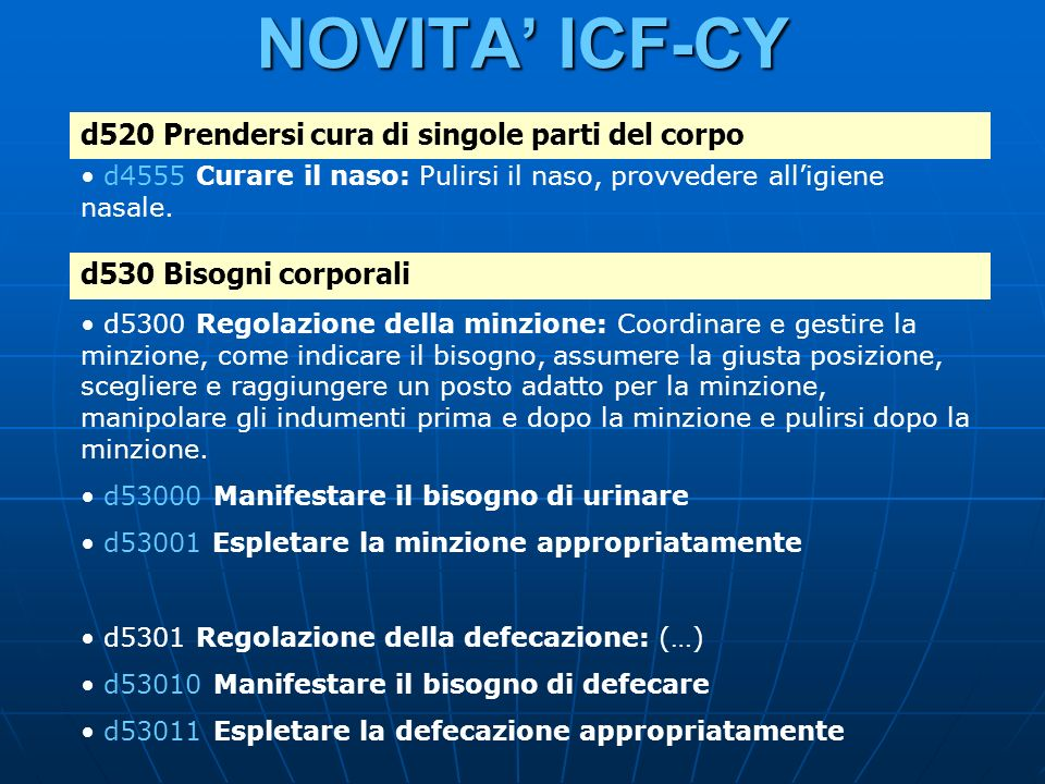 NOVITA ICF-CY d520 Prendersi cura di singole parti del corpo d4555 Curare il naso: Pulirsi il naso, provvedere alligiene nasale. d530 Bisogni corporal
