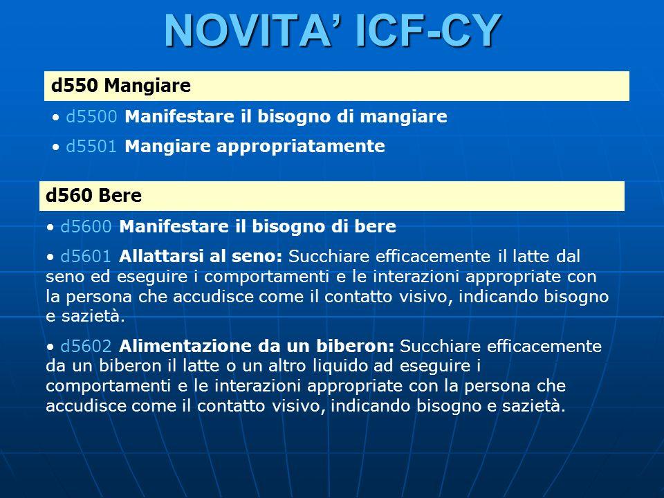 NOVITA ICF-CY d550 Mangiare d5500 Manifestare il bisogno di mangiare d5501 Mangiare appropriatamente d560 Bere d5600 Manifestare il bisogno di bere d5