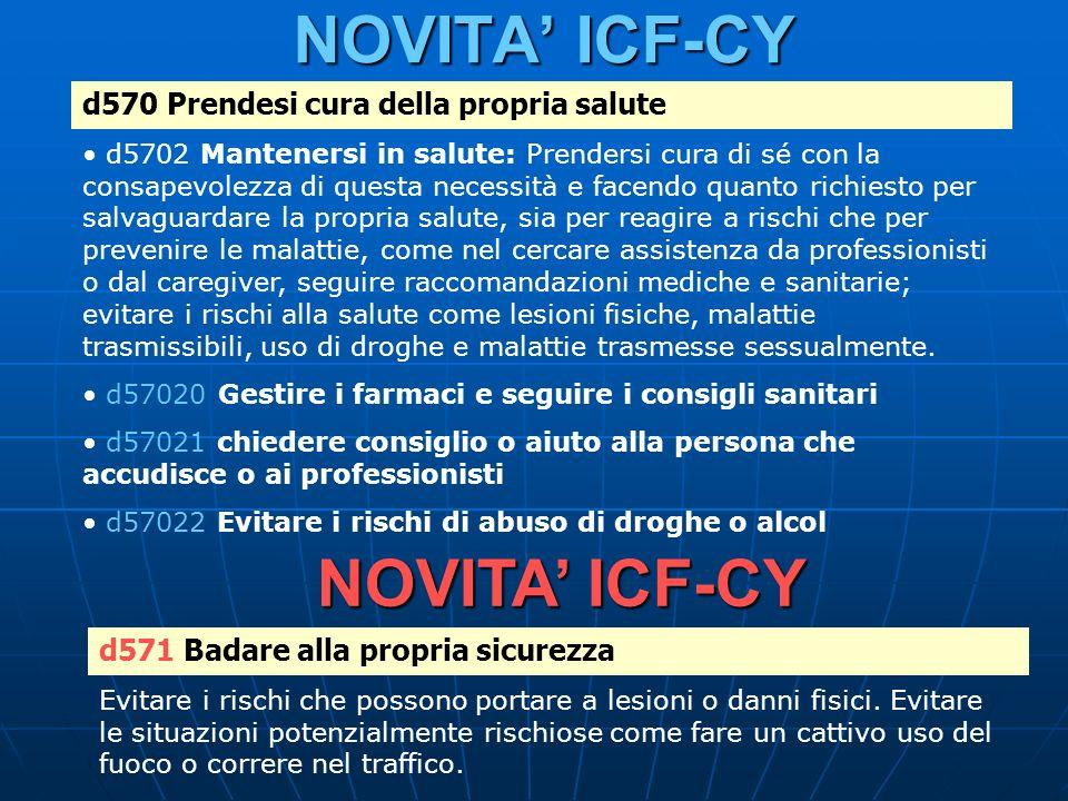 NOVITA ICF-CY d570 Prendesi cura della propria salute d5702 Mantenersi in salute: Prendersi cura di sé con la consapevolezza di questa necessità e fac
