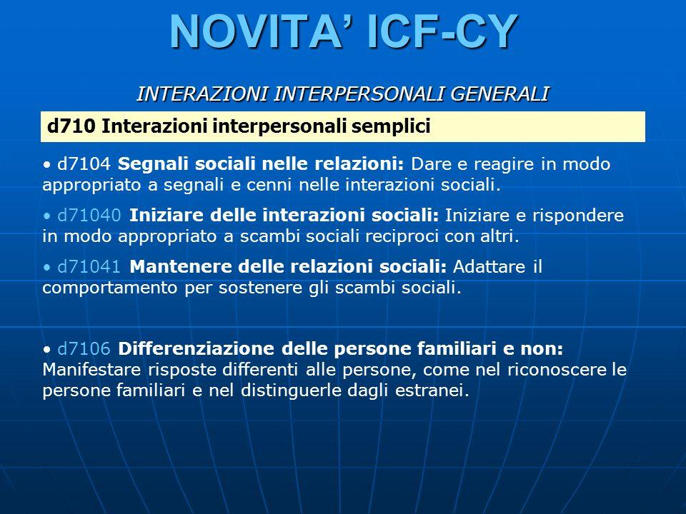 NOVITA ICF-CY d710 Interazioni interpersonali semplici d7104 Segnali sociali nelle relazioni: Dare e reagire in modo appropriato a segnali e cenni nel
