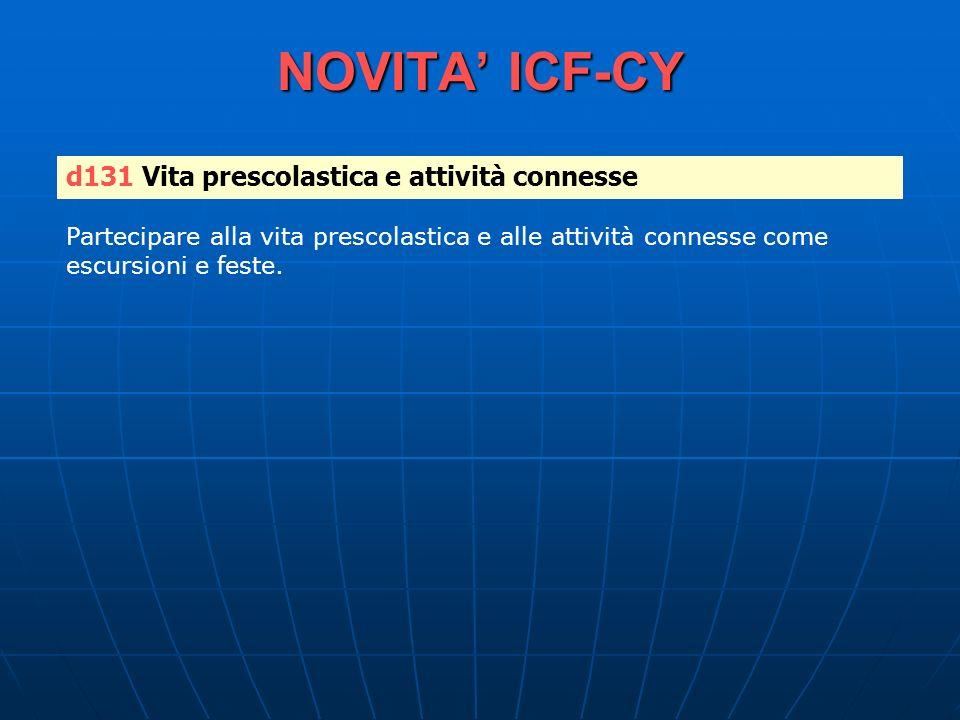 NOVITA ICF-CY d131 Vita prescolastica e attività connesse Partecipare alla vita prescolastica e alle attività connesse come escursioni e feste.