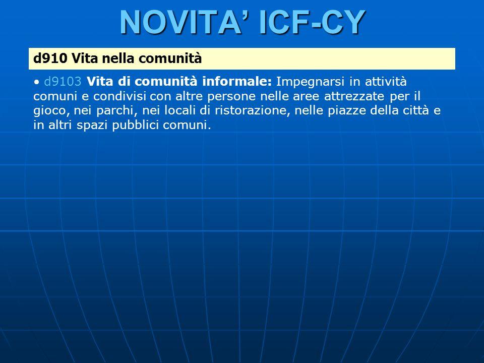 NOVITA ICF-CY d910 Vita nella comunità d9103 Vita di comunità informale: Impegnarsi in attività comuni e condivisi con altre persone nelle aree attrez