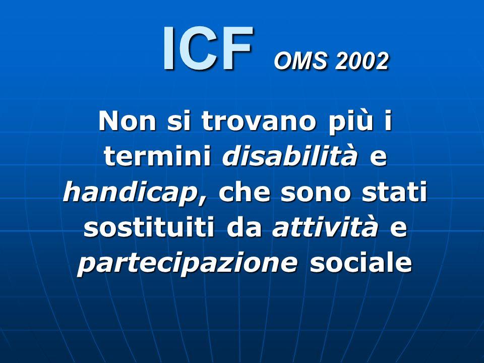 ICF OMS 2002 Non si trovano più i termini disabilità e handicap, che sono stati sostituiti da attività e partecipazione sociale