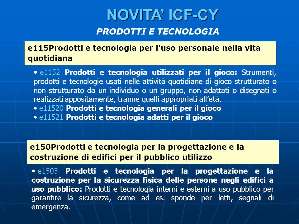 e115Prodotti e tecnologia per luso personale nella vita quotidiana e1152 Prodotti e tecnologia utilizzati per il gioco: Strumenti, prodotti e tecnolog