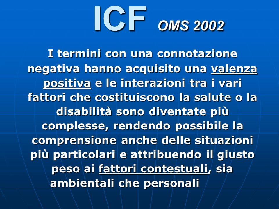 ICF OMS 2002 I termini con una connotazione negativa hanno acquisito una valenza positiva e le interazioni tra i vari fattori che costituiscono la sal