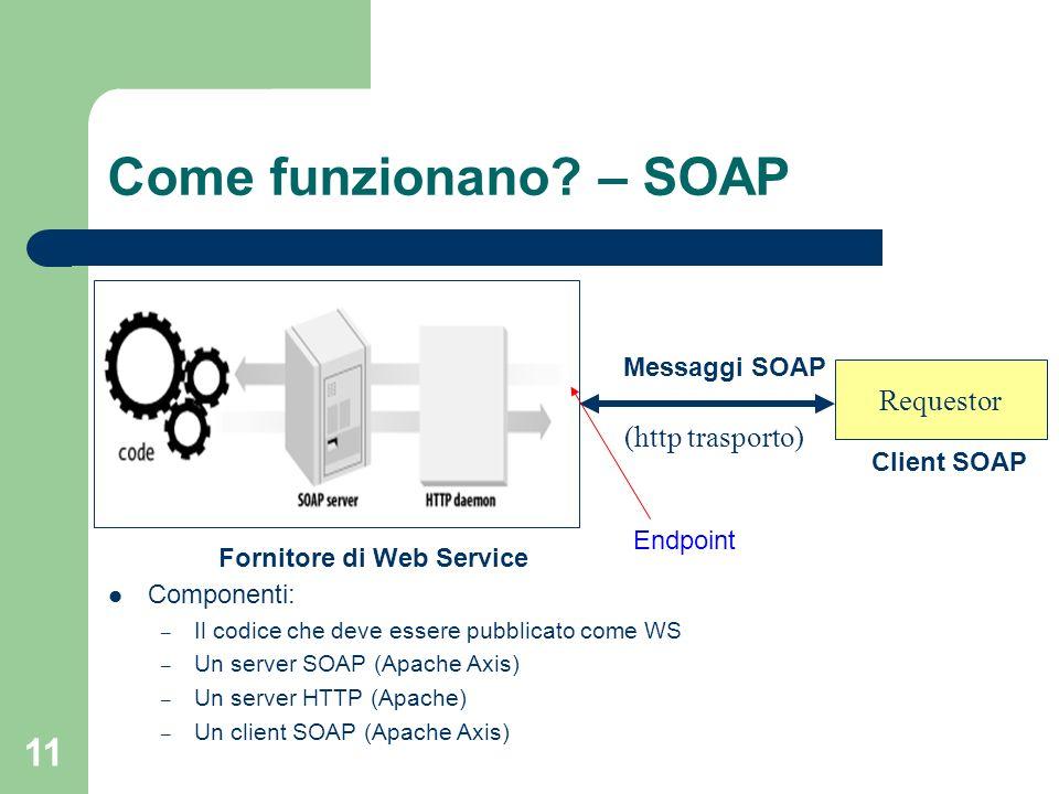 11 Come funzionano? – SOAP Componenti: – Il codice che deve essere pubblicato come WS – Un server SOAP (Apache Axis) – Un server HTTP (Apache) – Un cl