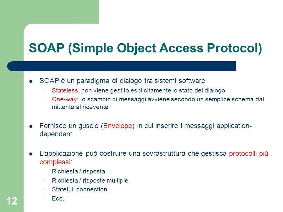 12 SOAP (Simple Object Access Protocol) SOAP è un paradigma di dialogo tra sistemi software – Stateless: non viene gestito esplicitamente lo stato del