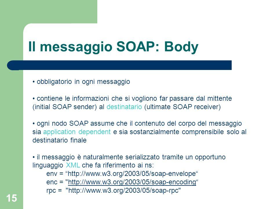 15 Il messaggio SOAP: Body obbligatorio in ogni messaggio contiene le informazioni che si vogliono far passare dal mittente (initial SOAP sender) al d