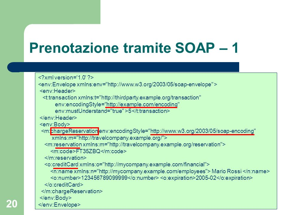 20 Prenotazione tramite SOAP – 1 <t:transaction xmlns:t= http://thirdparty.example.org/transaction env:encodingStyle= http://example.com/encoding env:mustUnderstand= true >5 <m:chargeReservation env:encodingStyle= http://www.w3.org/2003/05/soap-encoding xmlns:m= http://travelcompany.example.org/ > FT35ZBQ Mario Rossi 123456789099999 2005-02