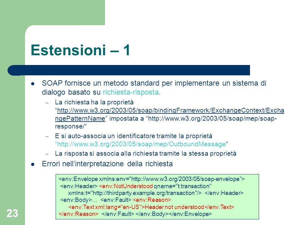 23 Estensioni – 1 SOAP fornisce un metodo standard per implementare un sistema di dialogo basato su richiesta-risposta. – La richiesta ha la proprietà