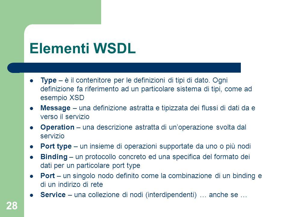 28 Elementi WSDL Type – è il contenitore per le definizioni di tipi di dato. Ogni definizione fa riferimento ad un particolare sistema di tipi, come a