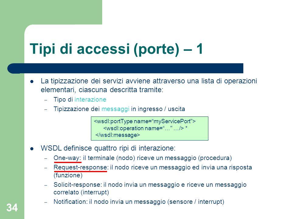 34 Tipi di accessi (porte) – 1 La tipizzazione dei servizi avviene attraverso una lista di operazioni elementari, ciascuna descritta tramite: – Tipo d