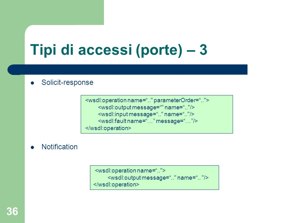 36 Tipi di accessi (porte) – 3 Solicit-response Notification