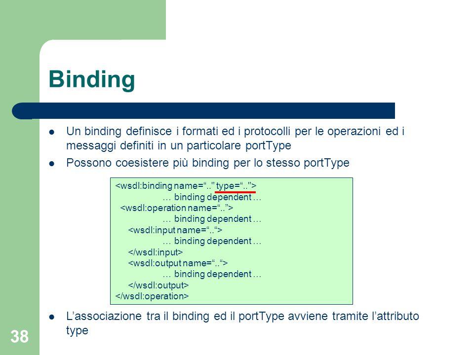 38 Binding Un binding definisce i formati ed i protocolli per le operazioni ed i messaggi definiti in un particolare portType Possono coesistere più b