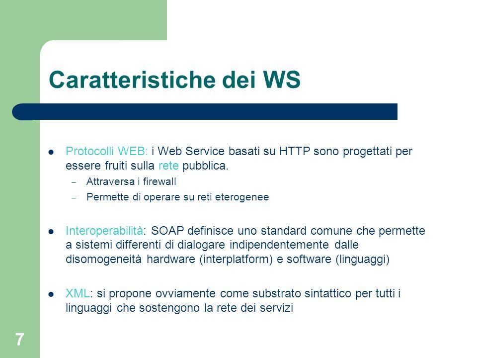 7 Caratteristiche dei WS Protocolli WEB: i Web Service basati su HTTP sono progettati per essere fruiti sulla rete pubblica. – Attraversa i firewall –