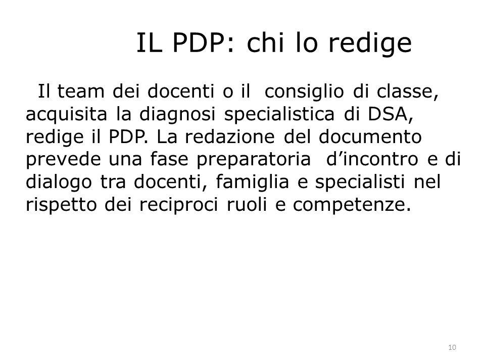 10 IL PDP: chi lo redige Il team dei docenti o il consiglio di classe, acquisita la diagnosi specialistica di DSA, redige il PDP. La redazione del doc