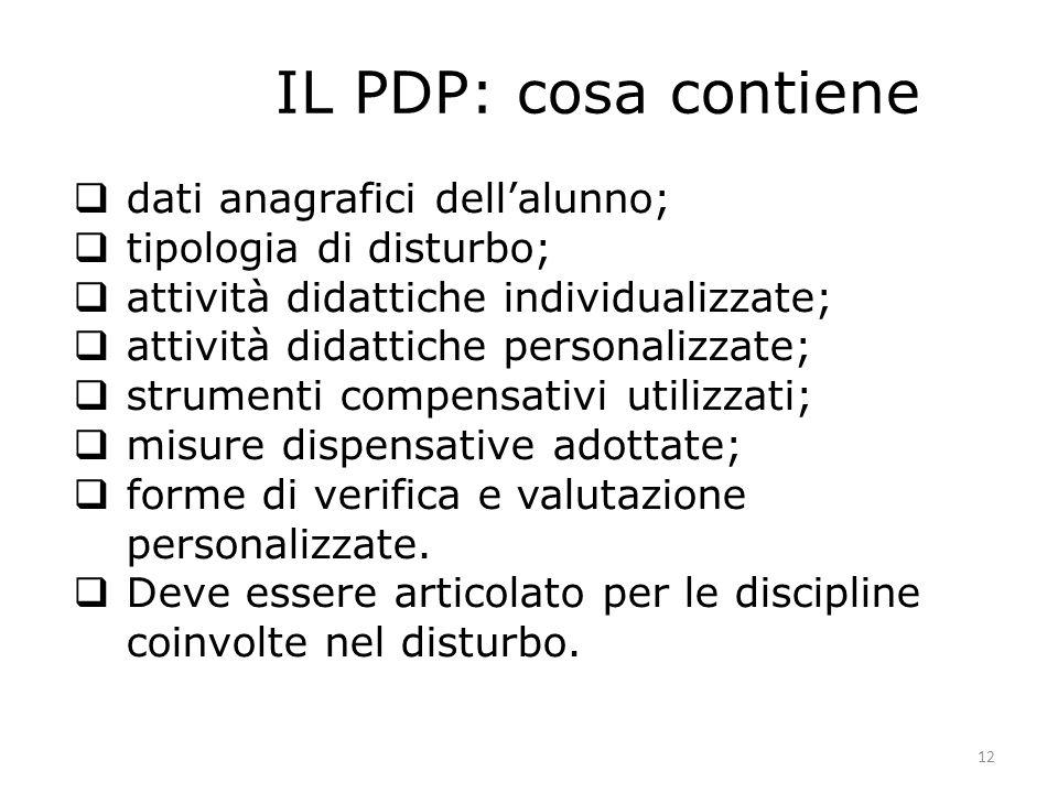 12 IL PDP: cosa contiene dati anagrafici dellalunno; tipologia di disturbo; attività didattiche individualizzate; attività didattiche personalizzate;