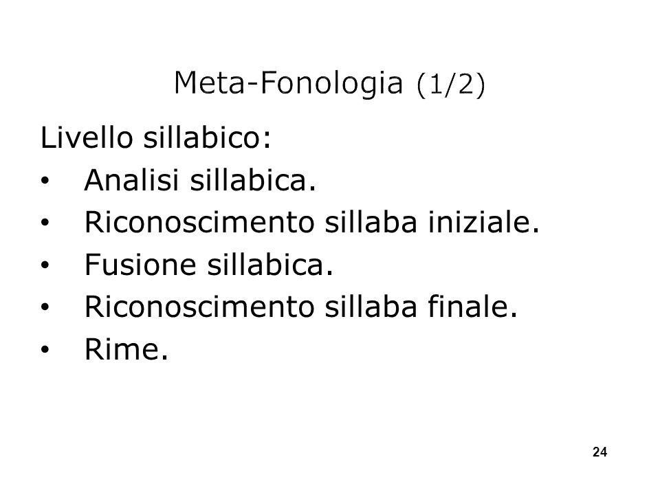 Livello sillabico: Analisi sillabica. Riconoscimento sillaba iniziale. Fusione sillabica. Riconoscimento sillaba finale. Rime. 24